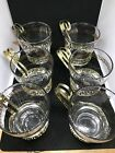 Lot 6 Vintage Glass Tea Coffee Expresso Cups with Gold Handles Libbey Greek Key