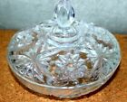 Vintage Clear Glass Candy Dish With Lid-Star Pattern