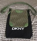 DKNY Ladies Hand Bag with Storage Bag Green Textile  Leather New