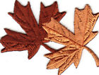 Autumn Leaves Fall Winter Brown Tan Iron On Embroidered Patch Applique
