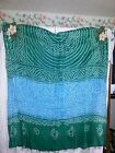 Scraf/Shawl extra long with Flat Sequins & Sea Shells at Bottom Blue GR WH-EUC