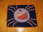 PRIMITIVE STYLE HAND HOOKED WOOL RUG-SITTING FANCY CHICKEN/ROOSTER,NAVY...