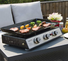 Portable Table Top Hibachi Grill Griddle 3 Burner Camping Tailgating Compact LP