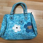 Cute HELLO KITTY Small Purse Handbag SANRIO Blue Flowers