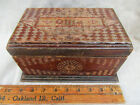 CHIPPED CARVED WOODEN BOX FOLK ART HOME MADE ONE-OF-A-KIND SIGNED