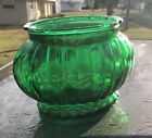 Vintage Emerald Green Ribbed Depression Glass Oval Vase Bowl A.L.R. Co R-18