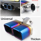 Universal 25 Blue CURVED Car Exhaust Dual Muffler Pipes Tip Stainless Steel