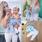 USA Floral Mother and Daughter Matching Outfits Striped Tops Hole Pants Clothes