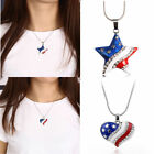Unique USA Flag Enamel Heart Star Pendant 4th of July Independence Day Jewelry
