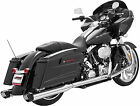 Freedom Exhaust System Racing Dual Chrome Black Harley Davidson HD00235