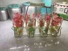 Vintage Mid Century Red Yellow Flower Glasses caddy barware gold