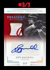 Jeff Bagwell #3 3 = 1 1, AUTO 3 Color GW LOGO Tag Patch 2016 National Treasures