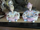 Pair Of German Antique Bisque Oriental Nodders Man And Woman Emperor Asian