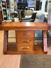 solid wood sideboard with glass shelves ex display