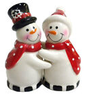 Hugging Snowmen Ceramic Salt And Pepper Shakers Couple Tableware SEE DETAILS