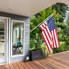 American Flag Pole Kit Wall Mount 5 Ft Spinning 3x5 US Flag Gold Ball Aluminum