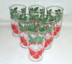 Lot of 6 Strawberry Decorated Tumblers Swanky Swigs 1950's-60's