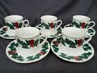 Libbey Holly Berry Ribbon Gold Rim Holiday Christmas Cups and Saucers Qty 5