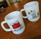 Fire King Anchor Hocking Snoopy Peanuts Mugs set/2 Pure Joy/Allergic to Mornings