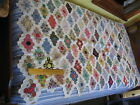 Calico 1930s Grandmas Flower Garden all hand quilted Cotton Quilt 68