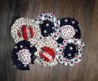 Set of 6 Handmade Primitive Americana Fabric Flower Ornies Bowl Fillers