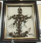 Antique Victorian Lovely Rare Anchor Mourning Hair Wreath Shadow Box Nice size