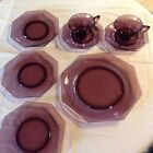 amethyst moroccan depression glass 2 cups and saucers 1 dinner 3 salad plates