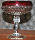 Vintage Indiana Glass Cranberry Clear Diamond Point Pedestal Compote Candy Dish