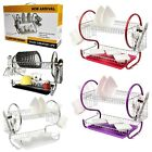 2 TIER HIGH QUALITY DISH DRAINER DISH RACK WITH DRIP TRAY AND CUTLERY HOLDER