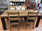 ex display solid oak dining table and chairs with glass protector top
