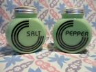 Jadeite Green Glass Art Deco Salt and Pepper Shakers Excellent Condition