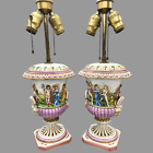 Early 1900s Capodimonte Hand Painted Lamps with Dimensional Figures