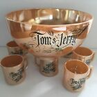 FIRE KING PEACH LUSTRE TOM AND JERRY PUNCH BOWL MUGS