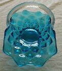 Fenton Colonial Blue Fireside Quilted Basket with Handle
