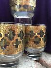 Vintage Culver Valencia Footed Lowball Cocktail Glasses Crackled Gold (Set of 3)