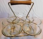 Vintage Anchor Hocking 4 Glasses Carrier Tray Wood Handled Gold Wire Rack
