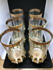 Vintage Mid Century Gold Rimmed Barware Glasses With Lotus Flower Coaster