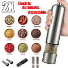 2Pack Automatic Electric Pepper Mill N Salt Grinder Stainless Steel Adjustable