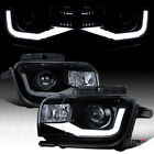 Fit 2010 2013 Chevy Camaro Black Smoke LED Bar Projector Headlights Left+Right