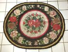 Antique Hooked Rug AMERICAN BEAUTY ROSE Victorian Folk Art MUSEUM QUALITY round