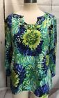 Ruby Red Jewel Neck Womens Size Large Blue Green Blouse Top 3 4 Sleeve