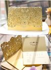 Wedding Invitation Card Personalized Laser Cut Romantic Party Floral Lace GOLD
