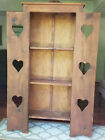 Vintage Wooden 3 Shelf Bookcase with Heart Cut-Out Doors