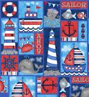 Anchors Away Sea Side Rectangles Fabric FQ Half Metre or Metres 100 Cotton
