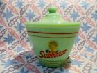 Jadeite Green Glass Sunbeam Bread Girl Grease Jar and Lid in Excellent Cond