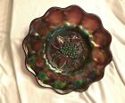 c1918 Imperial Carnival Glass Plate Heavy Grape non quilted Purple