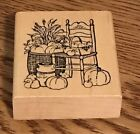 Rubber Stamp Garden Vegetables On A Chair Delafield Stamp Co H747