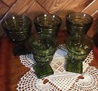 Vintage Indiana Glass Co. Park Lane Lot Of 5 Avocado Olive Green Glasses