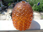 GLASS FAIRY LAMP SHADE AMBER DIAMOND POINT PATTERN VOTIVE CANDLE EGG SHAPED