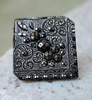 Antique Black Glass, LACY SILVER LUSTER Button